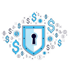 Shield and dollar set of icons financial security vector