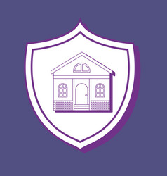 shield and house design vector image