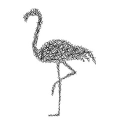 silhouette flamingo with messy straight lines vector image