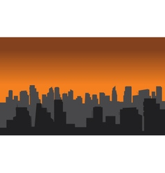 Silhouette of city black and gray color vector image