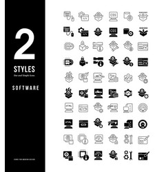 simple line icons software vector image