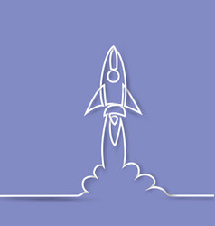 start up rocket thin line icon vector image