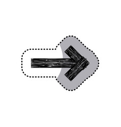 Sticker monochrome arrow piece wooden board with vector