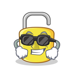 super cool yellow lock character mascot vector image