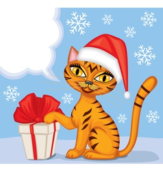 Tabby cat wishes Merry Christmas vector image