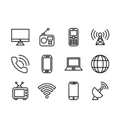 Telecommunication icon set outline vector