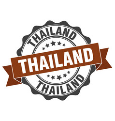 Thailand round ribbon seal vector