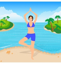 The girl is engaged in yoga on the beach vector