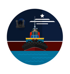Tugboat towing a large ship icon vector