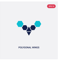 Two color polygonal wings icon from geometry vector