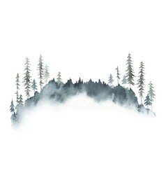 watercolor winter forest landscape with fir vector image