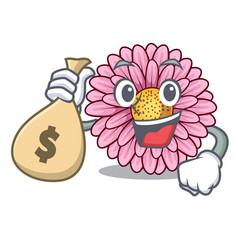 With money bag gerbera flower pot above character vector