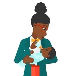 Woman feeding baby vector