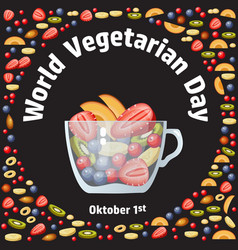world vegetarian day fruit berry and glass bowl vector image