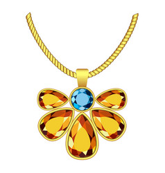 Yellow and blue topaz jewelry icon realistic vector