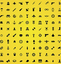 100 army icons vector image