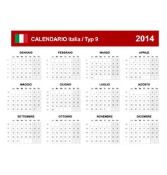 Calendar 2014 Italy Type 9 vector image