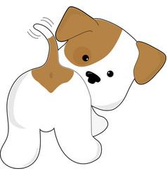 Cute puppy rear view vector
