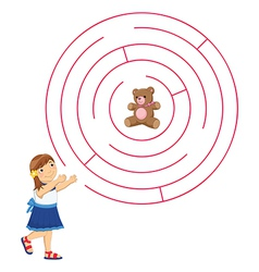 Girl and Maze vector image