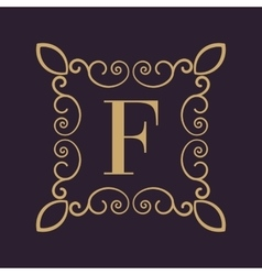 Monogram letter F Calligraphic ornament Gold vector image vector image