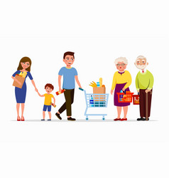 people at the supermarket buying products men and vector image