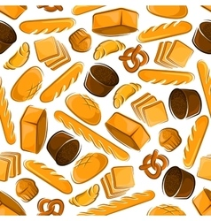 Seamless pattern of fresh bread products vector image vector image