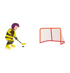 boy playing hockey with puck and stick side view vector image vector image