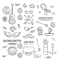 Doodle Sea Hand Drawn Objects Set vector image