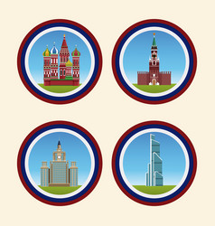 russia building on rounds symbols vector image