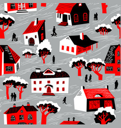 seamless pattern with houses cute town vector image