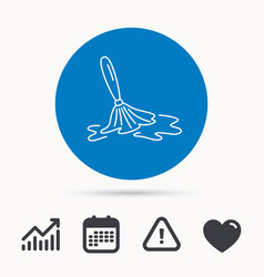 Wet cleaning icon clean-up floor tool sign vector