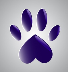 Blue glowing paw vector image