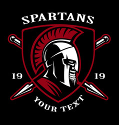 emblem of spartan warrior vector image