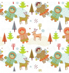 eskimo girls seamless pattern vector image vector image