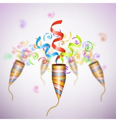 Exploding Party Popper On Blurred Background vector image