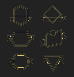 golden thin line empty geometrical banners design vector image