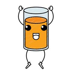orange juice glass kawaii character vector image