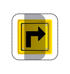 sticker yellow square frame turn right traffic vector image vector image