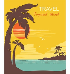tropical paradise palms island poster vector image vector image