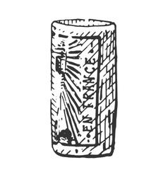 vintage engraved cork for bottle of wine hand vector image