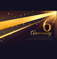 6th anniversary celebration card template vector image