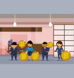 asian business people group holding bitcoins coins vector image