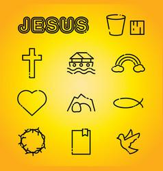 christian faith religion icons vector image