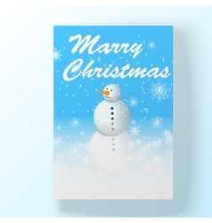 Christmas hollyday card with snowman vector image