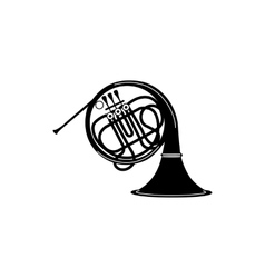 French horn icon black simple style vector