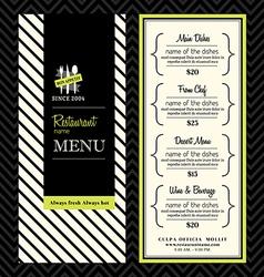 Modern Restaurant Menu Design Template Layout vector image