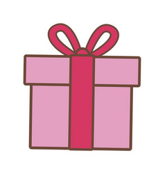 Pink gift box wrapped ribbon bow decoration vector