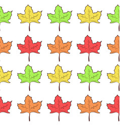 Seamless pattern with rows of cute maple leaves vector