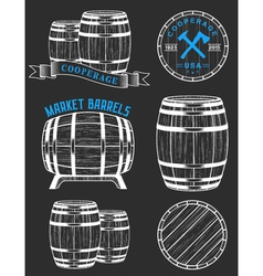 set and logos cooperage workshops vector image vector image