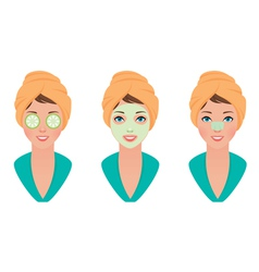 Set girl with clay mask on her face with a mask of vector image vector image